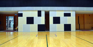 Acoustic felt in a school gym.