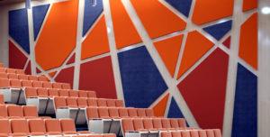 Acoustic felt in an auditorium.