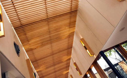Timber panelling in the ceiling.